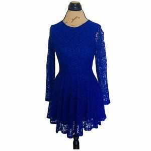 H&M Dress Size 6 Blue Womens Long Sleeves Lace Fit